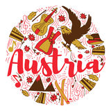 Diseño del vector de Infographic del viaje y del viaje de la señal de Austria Plantilla del diseño del país de Austria Fotos de archivo libres de regalías