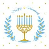 Diseño del vector de Jánuca - saludo feliz de Jánuca Día de fiesta judío Oro Menorah de Jánuca y ramas de olivo azules en blanco