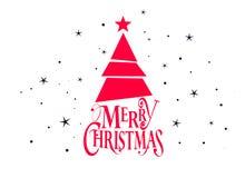 Diseño del vector de la Feliz Navidad y de la Feliz Año Nuevo con el árbol de navidad y las estrellas libre illustration
