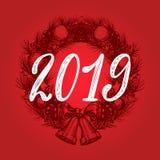 2019, diseño del vector de la frase manuscrita en guirnalda exhausta de la Navidad Ejemplo del Año Nuevo para la tarjeta de felic libre illustration