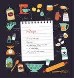 Diseño del vector de la plantilla de la receta de la comida de la pizarra Fotografía de archivo