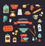 Diseño del vector de la plantilla de la receta de la comida de la pizarra Fotos de archivo libres de regalías