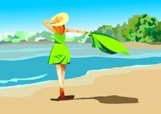 Diseño del vector de la playa del verano en la playa con un paraguas y un velo en la playa Ejemplo del fondo del verano para la p stock de ilustración