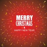 Diseño del vector de la tarjeta de los días de fiesta de Navidad con el rayo de sol, estrellas, puntos Foto de archivo libre de regalías