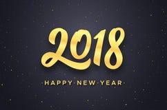Diseño 2018 del vector de la tarjeta de felicitación de la Feliz Año Nuevo Imagenes de archivo