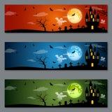 Diseño del vector de las banderas de Halloween Foto de archivo