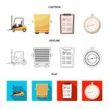 Diseño del vector de mercancías y de muestra del cargo Colección de mercancías e icono del vector del almacén para la acción stock de ilustración