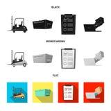 Diseño del vector de mercancías y de muestra del cargo Colección de mercancías e icono del vector del almacén para la acción ilustración del vector