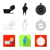 Diseño del vector de mercancías y de muestra del cargo Colección de mercancías y de símbolo común del almacén para el web ilustración del vector