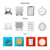 Diseño del vector de mercancías y de símbolo del cargo Sistema de mercancías y del ejemplo común del vector del almacén stock de ilustración