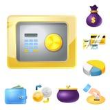 Diseño del vector de muestra del banco y del dinero Sistema del icono del vector del banco y de la cuenta para la acción libre illustration