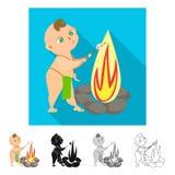 Diseño del vector de niño y de logotipo prehistórico Fije del icono del vector del niño y de las piedras para la acción stock de ilustración
