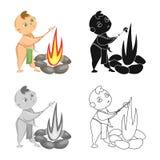 Diseño del vector de niño y de logotipo prehistórico Fije del símbolo común del niño y de las piedras para la web ilustración del vector