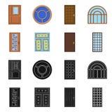 Diseño del vector de puerta y de logotipo delantero Colección de puerta y de ejemplo común de madera del vector libre illustration