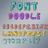 Diseño del vector del color de la fuente del garabato del alfabeto ilustración del vector