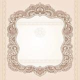 Diseño del vector del Doodle del marco de la flor del tatuaje de la alheña Imagen de archivo libre de regalías