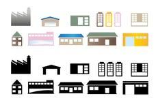 Diseño del vector del edificio y de las casas Fotos de archivo libres de regalías