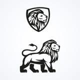 Diseño del vector del emblema de la mascota del deporte del logotipo del león Foto de archivo libre de regalías