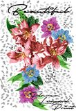 Diseño del vector del estampado leopardo de la flor Imagen de archivo
