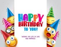 Diseño del vector del feliz cumpleaños con los smiley que llevan el sombrero del cumpleaños Imagen de archivo