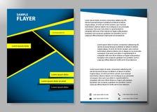 Diseño del vector del folleto del negocio de la cubierta del aviador, prospecto que hace publicidad del fondo abstracto, disposic Fotografía de archivo libre de regalías