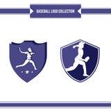 Diseño del vector del logotipo del jugador de béisbol stock de ilustración