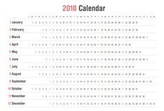 Diseño del vector del paisaje del calendario 2018 stock de ilustración