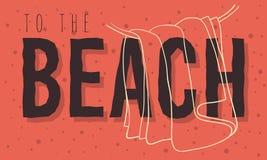 Diseño del verano de la playa con la línea dibujada mano colgada Art Illustrations de la toalla Fotos de archivo libres de regalías