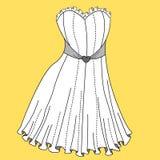 Diseño del vestido de las mujeres Bosquejos planos de las plantillas de la moda Ilustración Foto de archivo libre de regalías