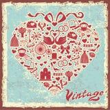 Diseño del vintage con el artículo de la boda en la composición de los corazones Foto de archivo libre de regalías