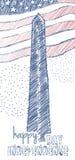 Diseño del vintage para el cuarto del Día de la Independencia los E.E.U.U. de julio Garabatee las ilustraciones en colores de la  Imágenes de archivo libres de regalías