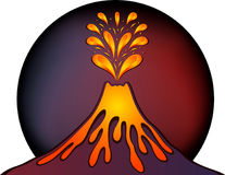 Diseño del volcán activo ilustración del vector