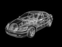 diseño del wireframe 3D de coche stock de ilustración