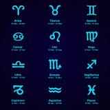 Diseño del zodiaco Sistema del horóscopo Iconos ilustración del vector