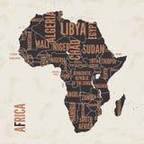 Diseño detallado vintage del cartel de la impresión del mapa de África Illustra del vector Foto de archivo libre de regalías
