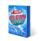 Diseño detergente pulverizado en maqueta del vector del paquete de la cartulina stock de ilustración