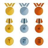Diseño determinado de bronce del oro de las medallas del vector de plata del icono Foto de archivo libre de regalías