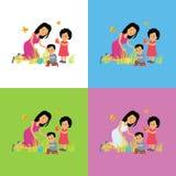 Diseño determinado de la familia feliz de Pascua Imagenes de archivo
