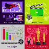 Diseño determinado de la película de la película de las banderas del cine stock de ilustración