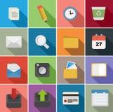 Diseño determinado de los iconos planos de la oficina Fotos de archivo libres de regalías