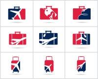 Diseño determinado de los logotipos del viaje La agencia de venta de entradas y el turismo vector iconos, el aeroplano en bolso y Fotos de archivo libres de regalías