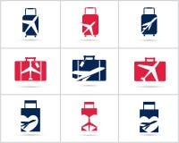 Diseño determinado de los logotipos del viaje La agencia de venta de entradas y el turismo vector iconos, el aeroplano en bolso y Fotos de archivo