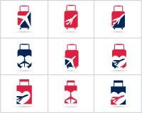 Diseño determinado de los logotipos del viaje La agencia de venta de entradas y el turismo vector iconos, el aeroplano en bolso y Imágenes de archivo libres de regalías