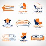Diseño determinado de los muebles del vector anaranjado y azul del logotipo ilustración del vector