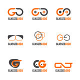 Diseño determinado de los vidrios del vector anaranjado y gris del logotipo Imágenes de archivo libres de regalías