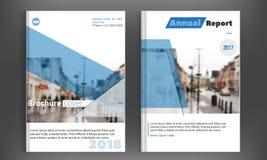 Diseño determinado del vector del folleto del negocio de la cubierta azul Fondo de la publicidad del prospecto con la ciudad blur libre illustration