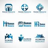 Diseño determinado del vector del logotipo de los recursos humanos (hora) para el negocio stock de ilustración