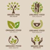 Diseño determinado del vector del logotipo del alimento biológico o del logotipo de la comida sana stock de ilustración