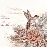 Diseño dibujado mano de la invitación del vector en estilo floral clásico Fotos de archivo