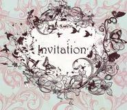 Diseño dibujado mano de la invitación del vector en estilo floral clásico Imágenes de archivo libres de regalías